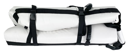 Built in wrap-around straps with buckles for easy storage and transport.
